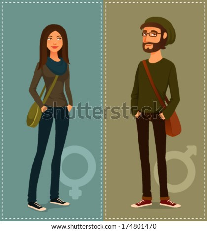 cartoon illustration of young people in hipster fashion style - stock vector