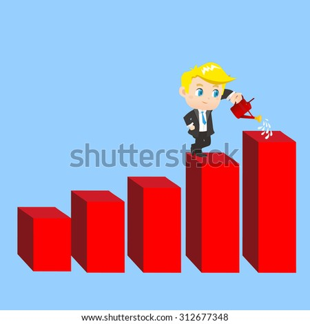 cartoon illustration set of Business man shows sale growth, graph