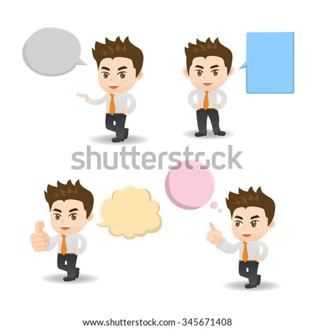 cartoon illustration set of Business man with empty speech bubbles - stock vector