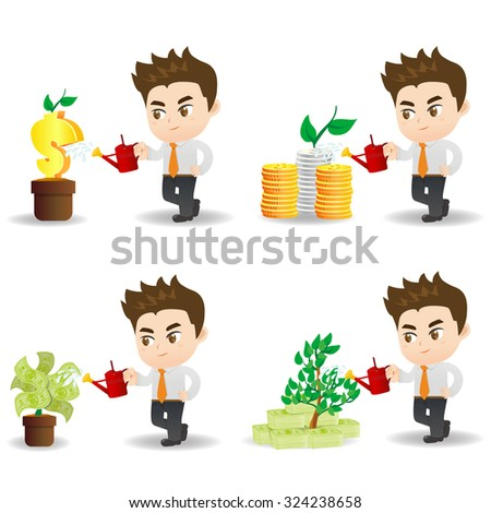 cartoon illustration set of Business man with financial money tree, business concept - stock vector