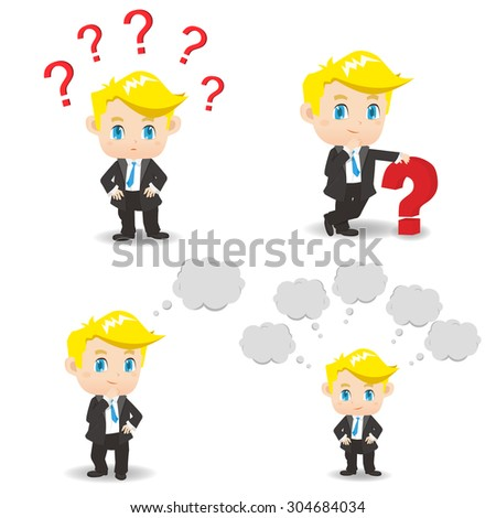 cartoon illustration set of Business man with question mark, think - stock vector