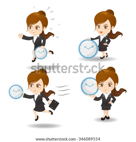 cartoon illustration set of Success and excited Business woman hold clock - stock vector