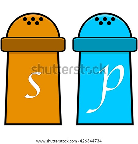 Cartoon illustration showing a salt and a pepper shaker - stock vector