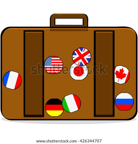 Cartoon illustration showing a suitcase with badges of different countries