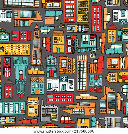 Cartoon illustration urban background or seamless colorful city pattern - stock vector