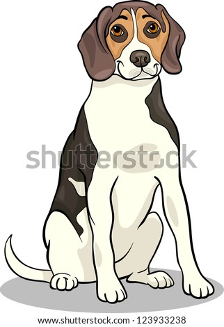Cartoon Illustration Vector of Cute Beagle Dog or Puppy - stock vector