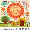 Cartoon illustration with funny sun and trees. - stock vector