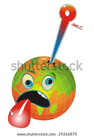 Cartoon illustration with globe and thermometer measuring the planet temperature, global warming.