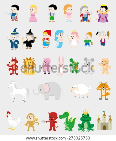 Cartoon Illustrations Set of Fairytale Characters