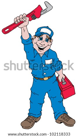 Cartoon image of a plumber  holding a plumbers wrench.