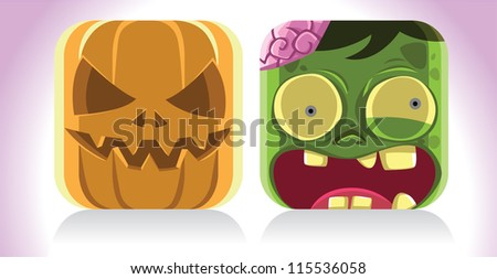 Cartoon image of mummy and skeleton. See my portfolio for other halloween themes - stock vector