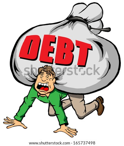Cartoon Image of Someone Being Weighed Down by Too Much Debt - stock vector