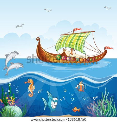 Cartoon image of the water world with merchant ships Viking S.VI - stock vector