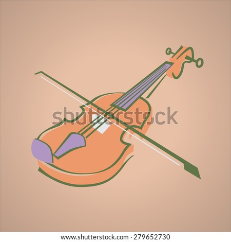 Cartoon image of Violin. Vector Illustration - Part of the Series - stock vector
