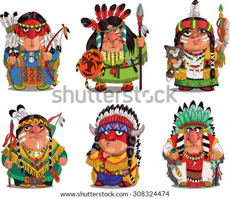 Cartoon Indians. Funny, travesty cartoon. Characters. Indians set. Isolated objects. - stock vector