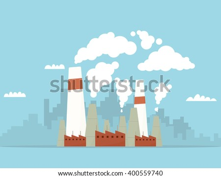 Cartoon industry factory - stock vector