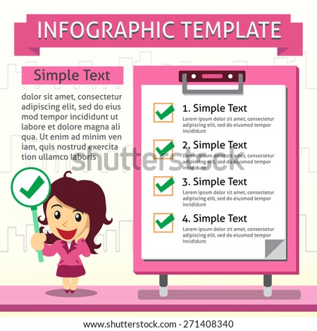 Cartoon infographic template of business woman and board - stock vector