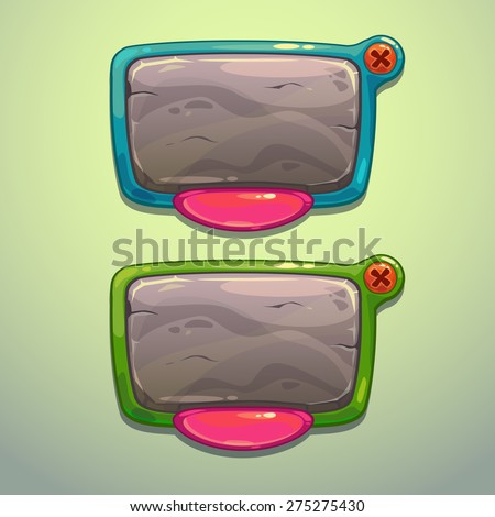 Cartoon information panels, vector game ui elements - stock vector