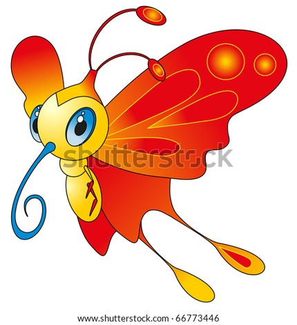 cartoon insect - color butterfly - stock vector