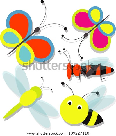 cartoon insect set - stock vector