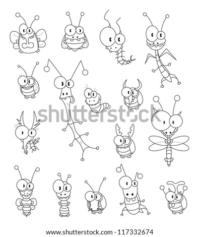 Cartoon insects - stock vector