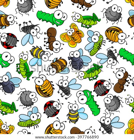 Cartoon insects seamless pattern of bees and butterflies, caterpillars and flies, spiders and ladybugs, mosquitoes and bugs, dragonflies, ants and grasshopper. Childish interior, textile, print design - stock vector