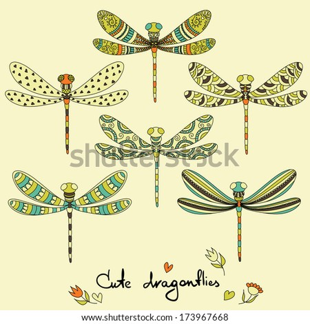 Cartoon insects set. Cute dragonflies. - stock vector