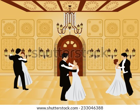 cartoon interior - vector illustration of a ballroom along with waltz dancers. - stock vector