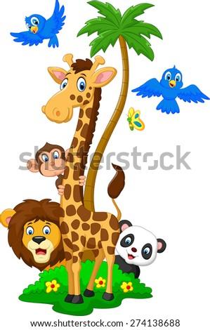 Cartoon island animals - stock vector