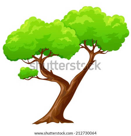 Cartoon isolated heart shaped tree on white background. Vector ilustration