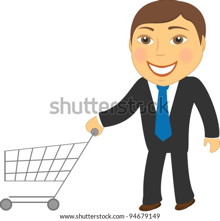 cartoon isolated man with shopping cart - stock vector