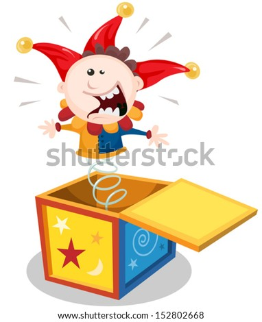 Cartoon Jack In The Box/ Illustration of a funny cartoon jack in the box puppet toy character jumping and smiling - stock vector