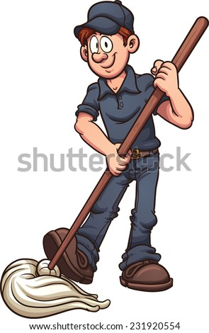 Cartoon janitor. Vector clip art illustration with simple gradients. All in a single layer. - stock vector