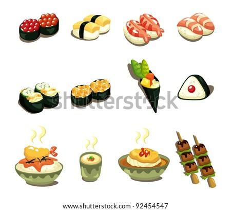 cartoon Japanese food icon set - stock vector