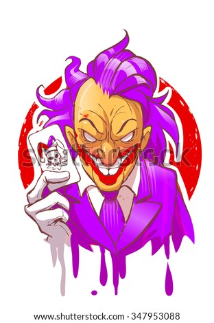 Cartoon joker character smiling holding play card violet suit hair white gloves vector illustration - stock vector