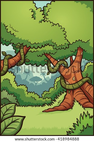 Cartoon jungle background. Vector clip art illustration with simple gradients.