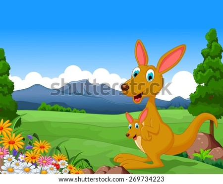 Cartoon kangaroo carrying a cute Joey with landscape background