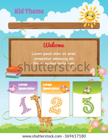 Cartoon Kid Background with Illustrations - stock vector