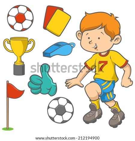 Cartoon kid dribbling a soccer ball. Soccer game objects isolated over white background around him.  - stock vector