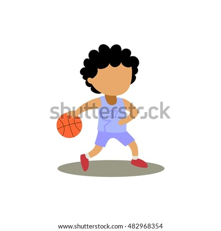 cartoon kid dribbling the basketball sports vector illustration
