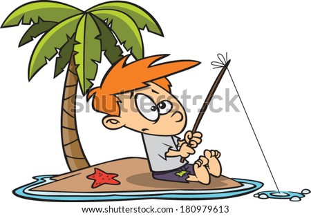 cartoon kid fishing on a deserted island