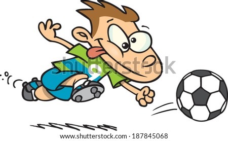 cartoon kid playing soccer - stock vector