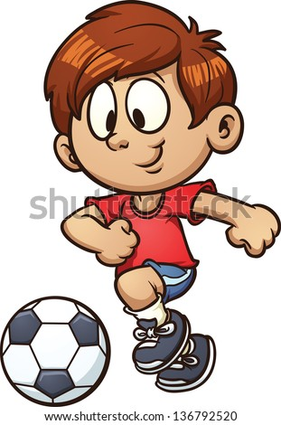 Cartoon kid playing soccer. Vector clip art illustration with simple gradients. All in a single layer. - stock vector