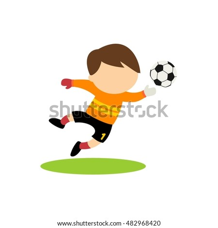 cartoon kid playing soccer. vector illustration