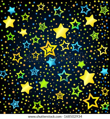 Cartoon kid style vector font with  colored  stars background - stock vector