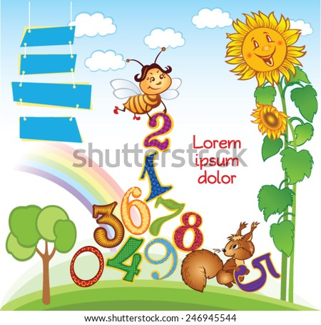 Cartoon kid template with Numbers - stock vector