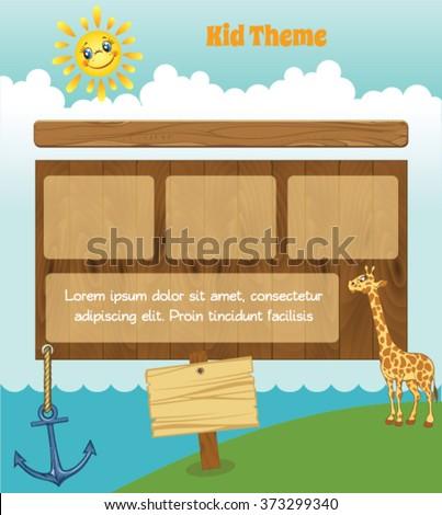 Cartoon kid template with sun and giraffe - stock vector