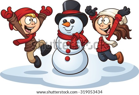 Cartoon kids building a snowman. Vector clip art illustration with simple gradients. Each element on a separate layer.  - stock vector