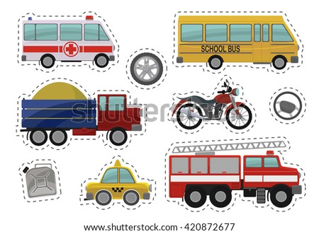 Cartoon kids car toys illustration. Flat vector icons of ambulance, school bus, truck, lorry, motorcycle, motorbike, drive wheels, canister with gasoline, fire engine