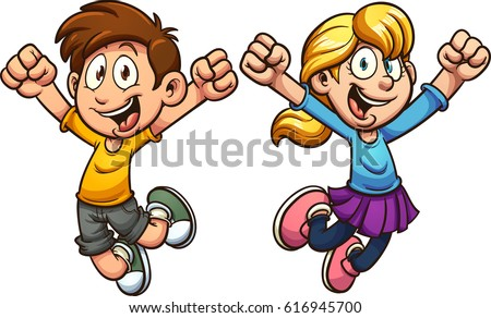 cartoon kids jumping vector clip art illustration with simple gradients each on a separate - Cartoon Kids Pics
